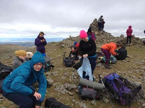 Duke of Edinburgh students packing bags at summit