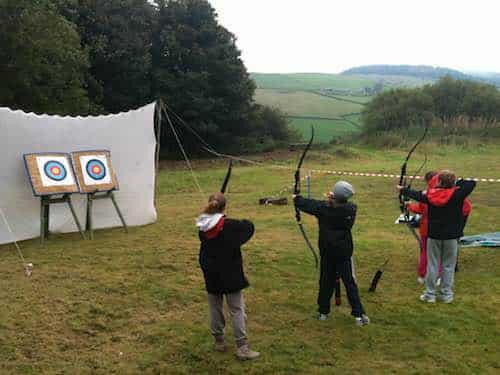 Archery during one of the Moorland Adventure kids activity clubs