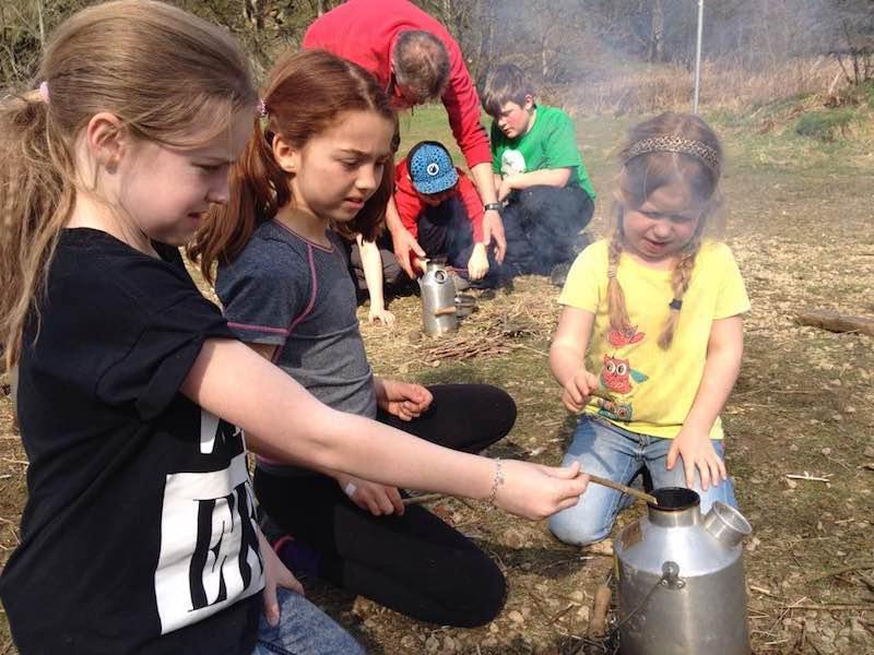Kids enjoying Bushcraft activity
