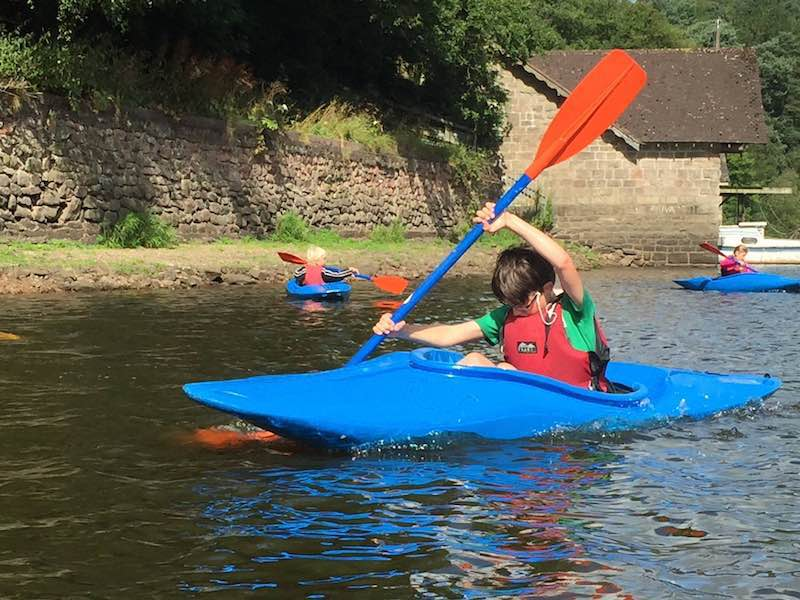Enthusiastic kayak paddling!