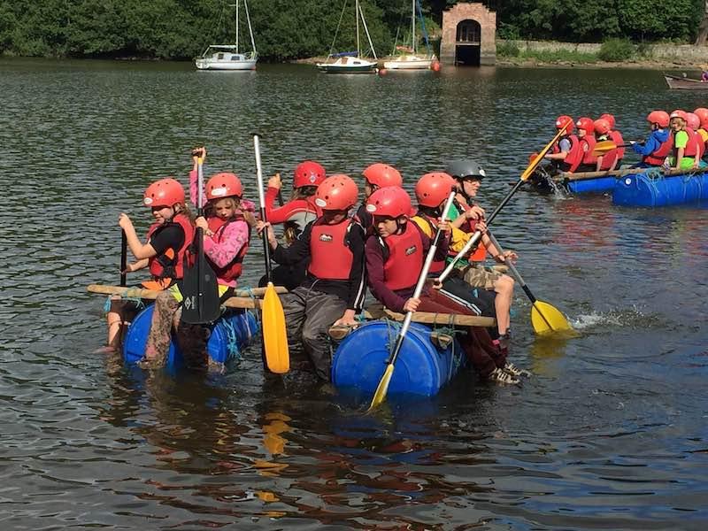 Raft building at Rudyard Lake