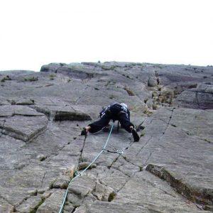 Solo rock climbing