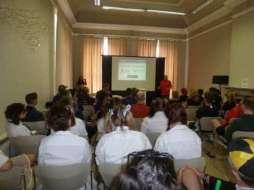 Team presentation / briefing during corporate training event